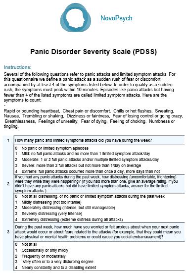 Panic Disorder Severity Scale (PDSS) | NovoPsych Psychometrics